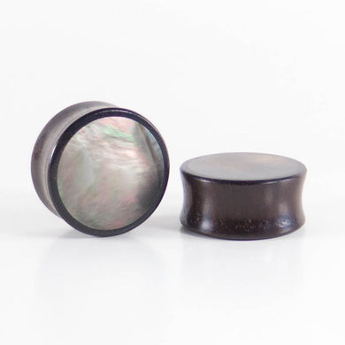 Dark Raintree Plugs with Black Pearl Shell Inlay