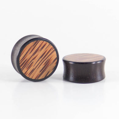 Dark Raintree Plugs with Coconut Palm Inlay