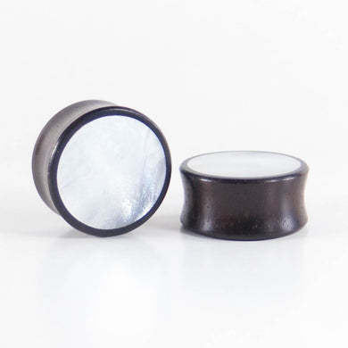 Dark Raintree Round Plugs with Mother of Pearl Shell (Pair) - Bare Bones Organics