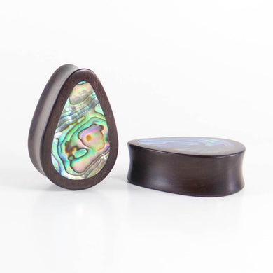 Dark Raintree Teardrop Plugs with Abalone Shell (Pair) - Bare Bones Organics