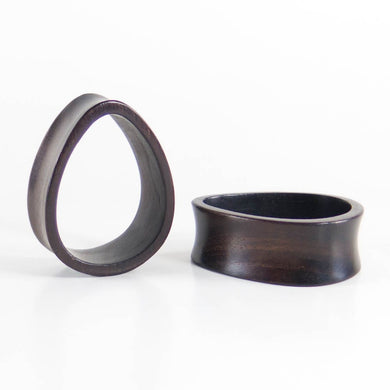 Dark Raintree Teardrop Tunnels (Pair) - Bare Bones Organics