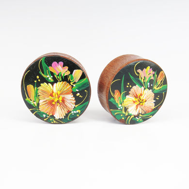Blood Wood Round Plugs with Hand Enameled Yellow Flower (Pair)