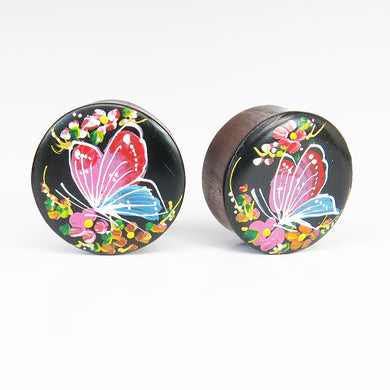 Blood Wood Round Plugs with Hand Enameled Butterfly (Pair)