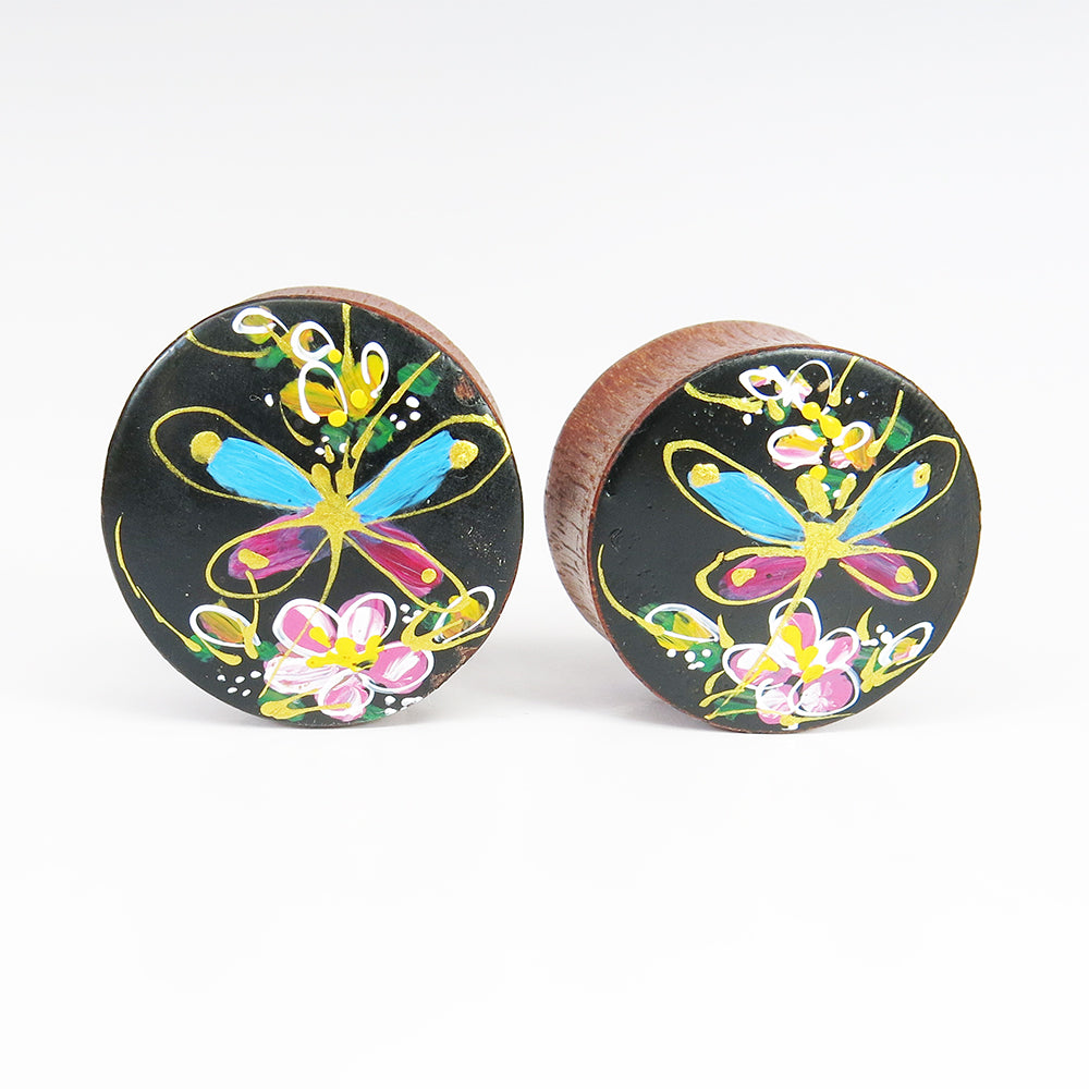 Blood Wood Plugs with Hand Enameled Blue Butterfly (Pair)