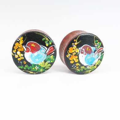 Blood Wood Round Plugs with Hand Enameled Bird (Pair)