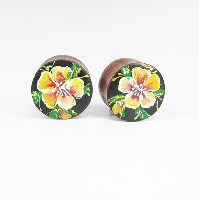 Round Plugs with Hand Enameled Tangerine Flower (Pair)
