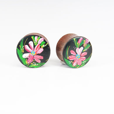 Blood Wood Plugs with Hand Enameled Pink Flower (Pair)