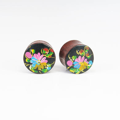 Blood Wood Plugs with Hand Enameled Rainbow Flower (Pair)
