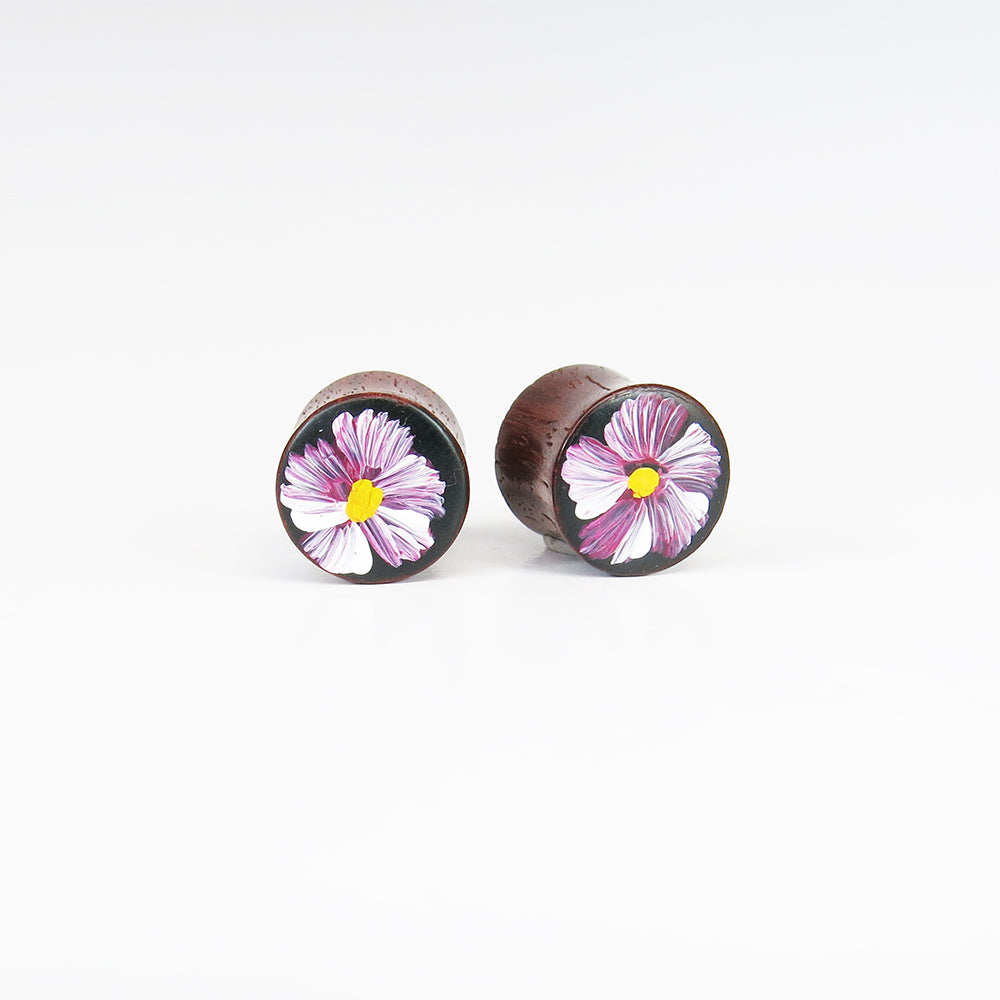 Blood Wood Plugs with Hand Enameled Mountain Flower (Pair)