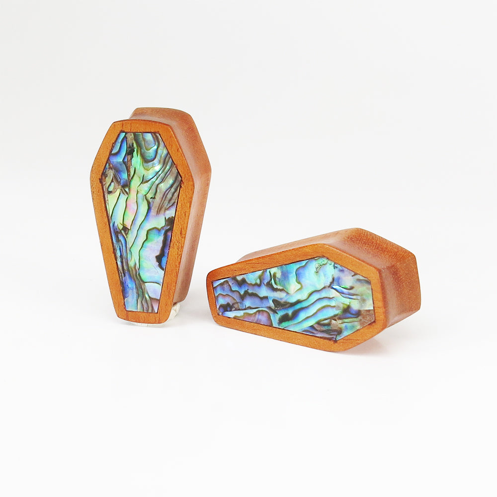 Fijian Mahogany Coffin Plugs with Abalone Shell (Pair)