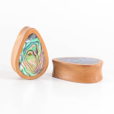 Fijian Mahogany Teardrop Plugs with Abalone Shell (Pair) - Bare Bones Organics