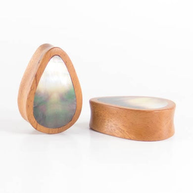 Fijian Mahogany Teardrop Plugs with Black Pearl Shell (Pair) - Bare Bones Organics
