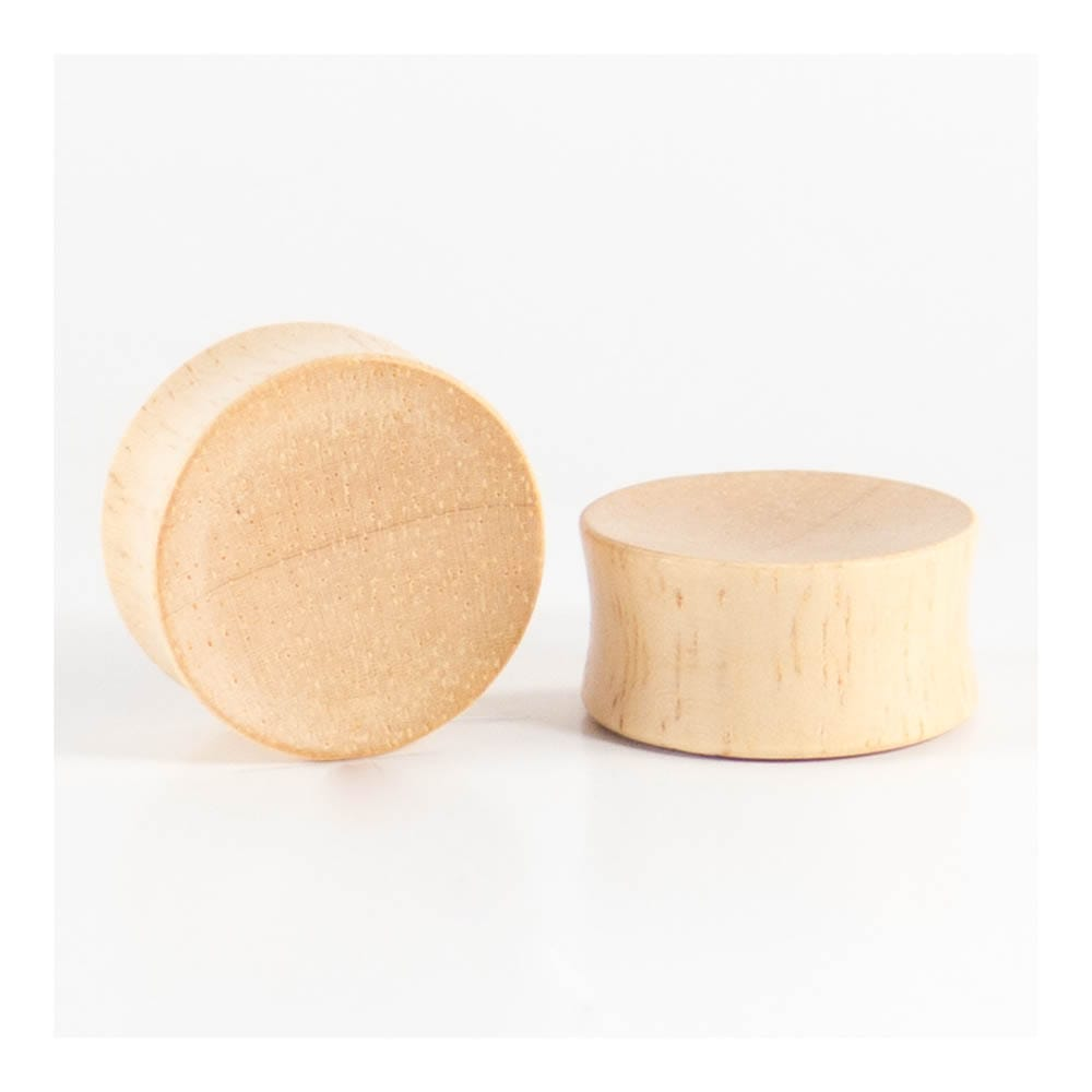 Hevea Wood Concave Plugs (Pair)