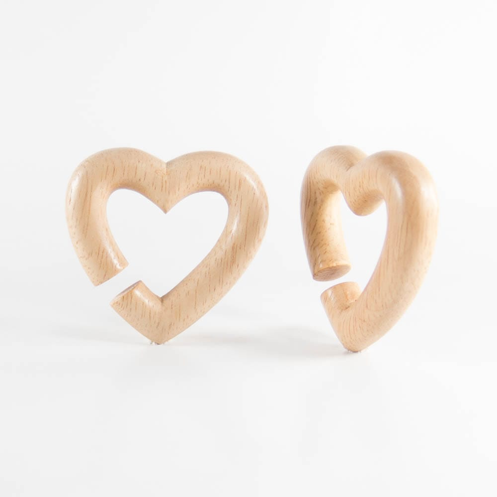 Hevea Wood Heart Hoops (Pair)