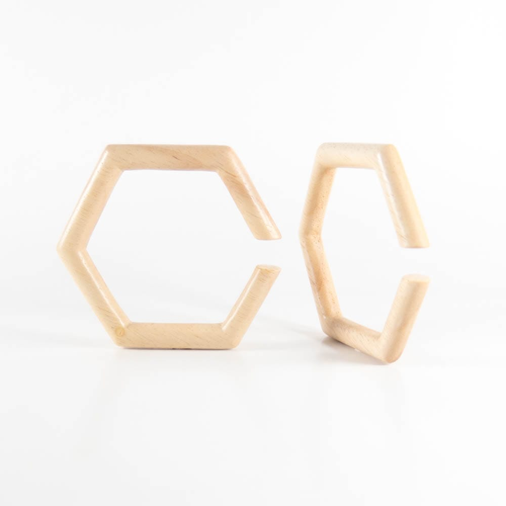Hevea Wood Hexagon Hoops (Pair)
