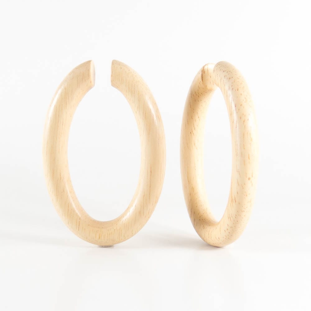 Hevea Wood Oval Hoops (Pair)