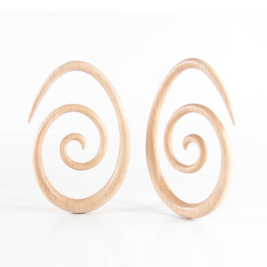 Hevea Wood Oval Spirals (Pair)