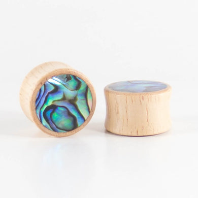 Hevea Wood Round Plugs with Abalone Shell (Pair) - Bare Bones Organics