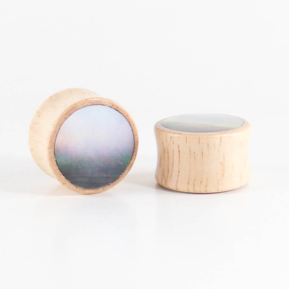 Hevea Wood Round Plugs with Black Pearl Shell (Pair)