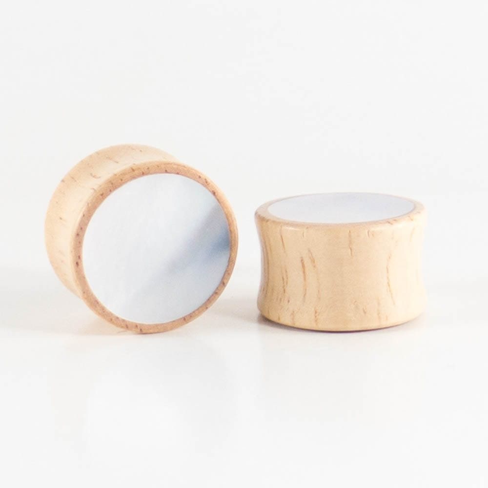 Hevea Wood  Mother of Pearl Plugs