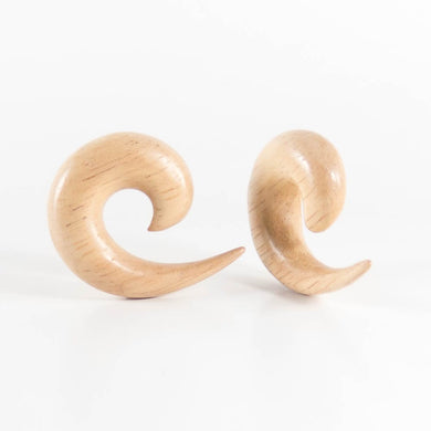Hevea Wood Spiral Tapers  (Pair)