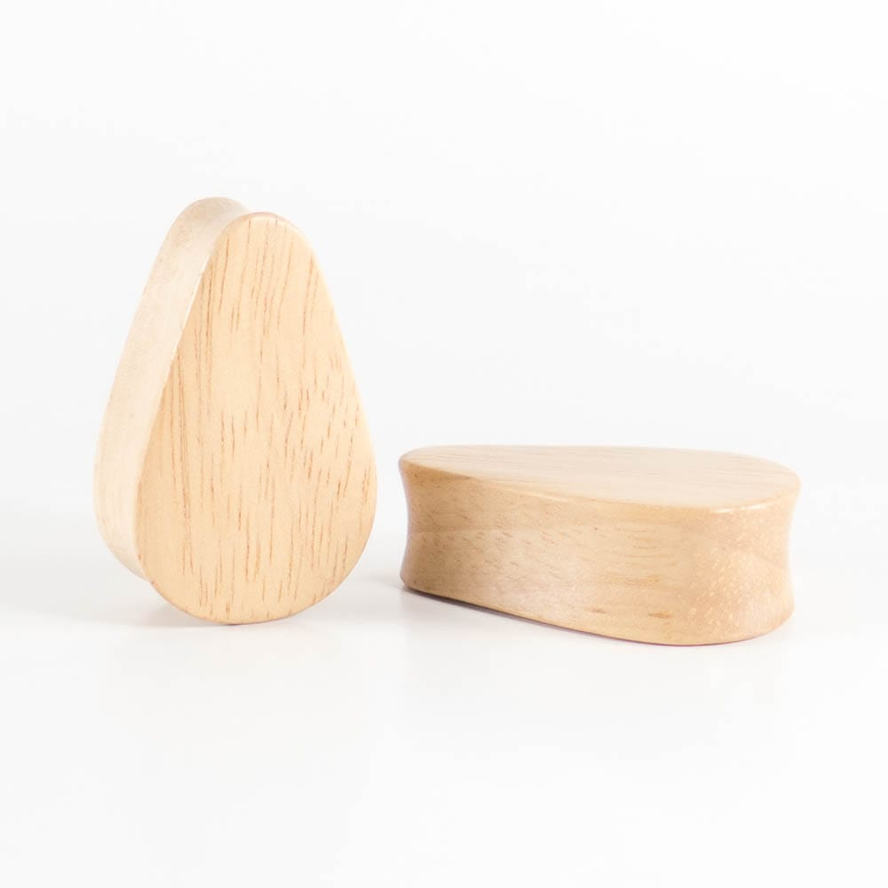 Hevea Wood Tall Teardrop Plugs (Pair)