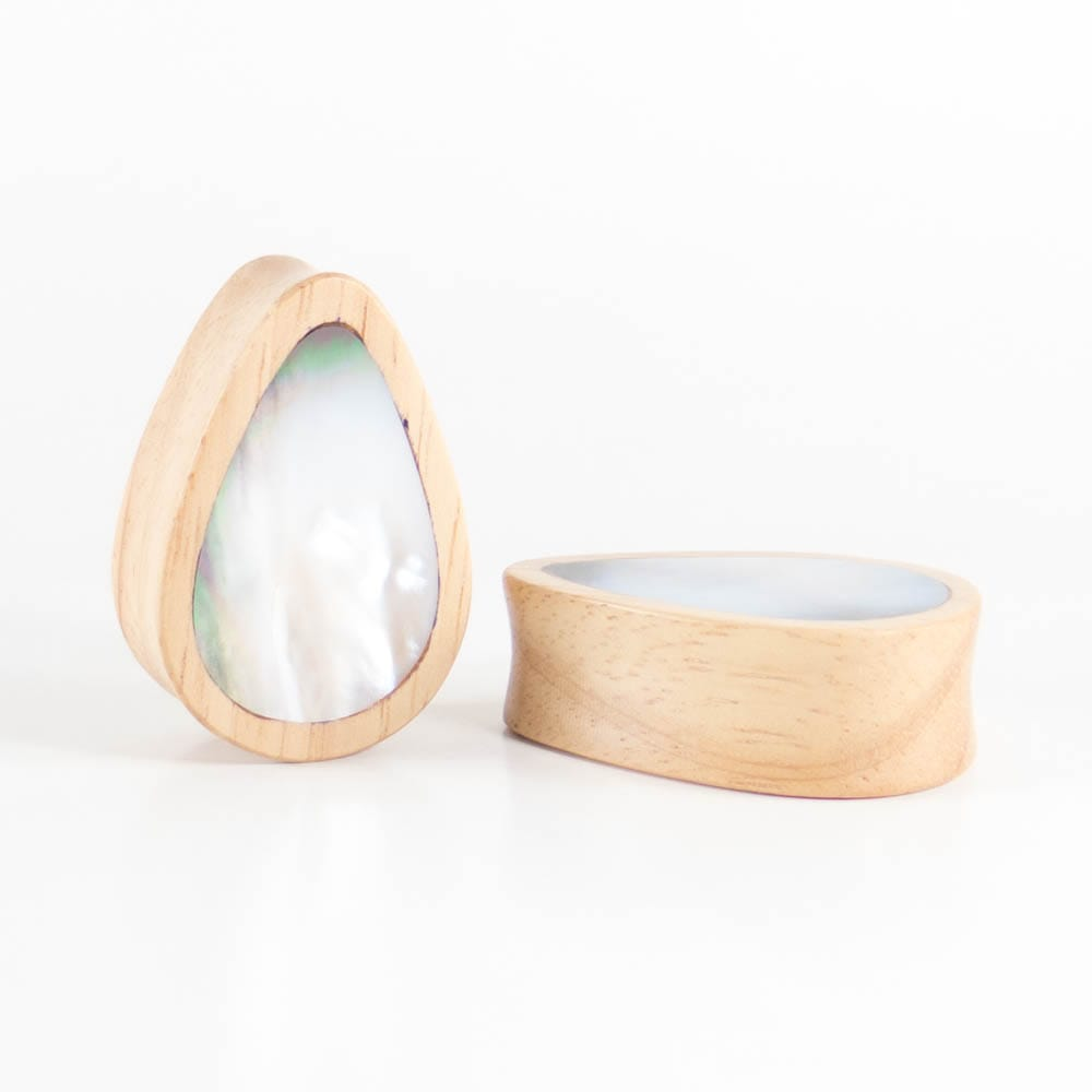 Hevea Wood Teardrop Plugs with Mother of Pearl Shell (Pair) - Bare Bones Organics