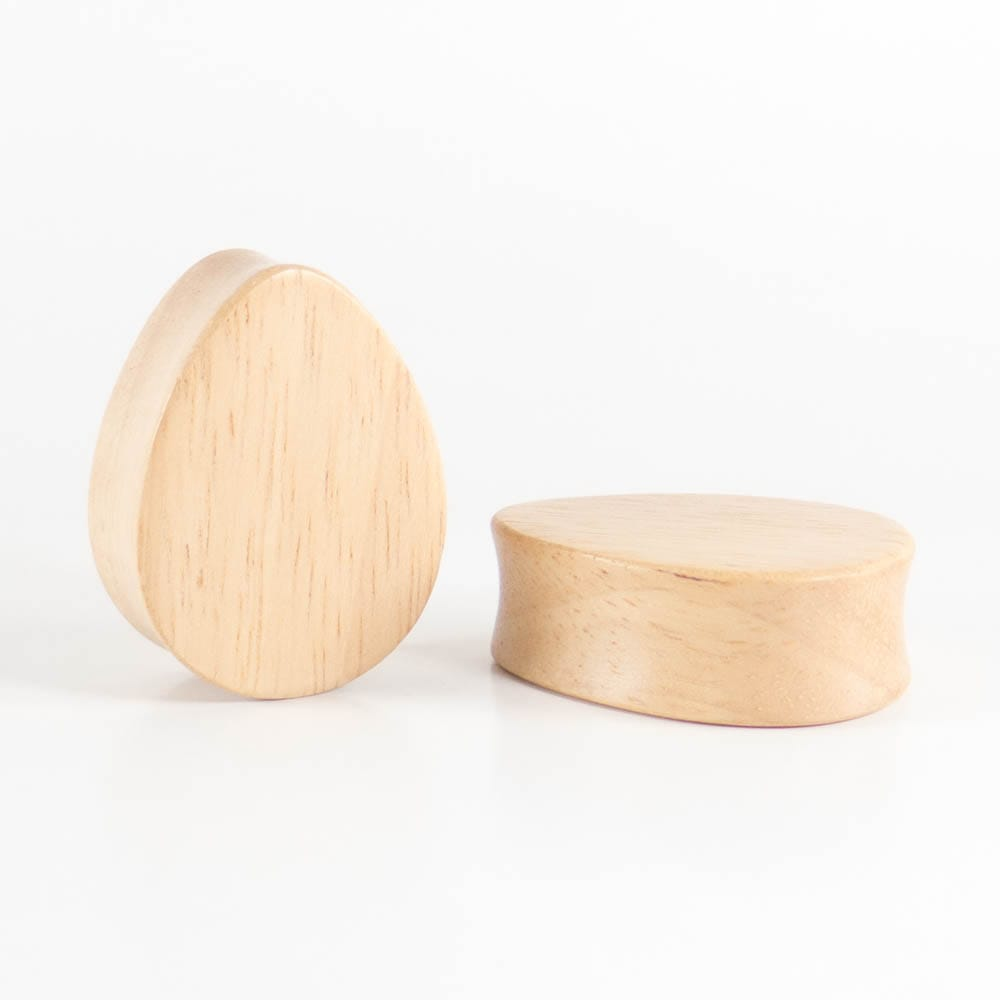 Hevea Wood Teardrop Plugs (Pair)