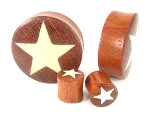Blood Wood Star Graphic Plugs - Bare Bones Organics
