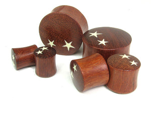 Blood Wood Twin Star Graphic Plugs - Bare Bones Organics