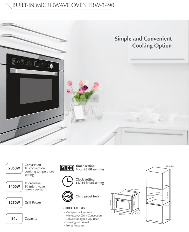 Firenzzi FBW-3490 Built-in Microwave Oven