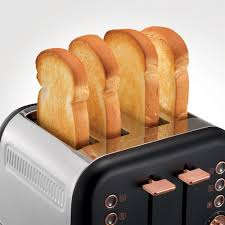 Morphy Richards Accents Rose Gold and Black 4 Slice Toaster