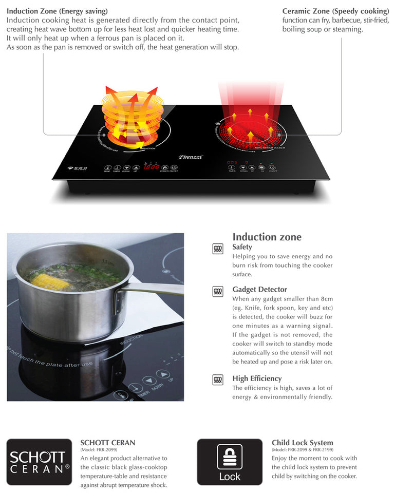 Firenzzi Hybrid Induction/Ceramic Cooker FRD-2088
