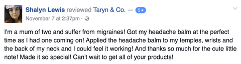 Honest Health Co. Headache Balm Testimonial