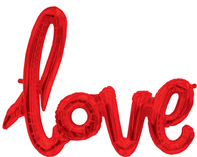 Love Script Foil Balloon 102cm | Red - Air Filled
