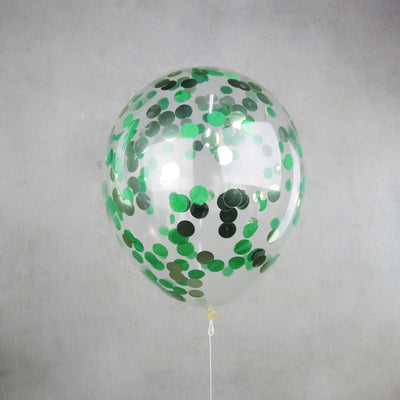 30cm Round Green Confetti Balloons - You Fill (Pack of 5)