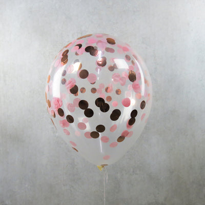 Pink Rose Gold Confetti Helium Balloon