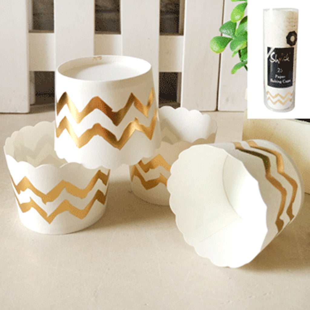 Cupcake Baking Cups - Gold Chevron (Pack of 25)