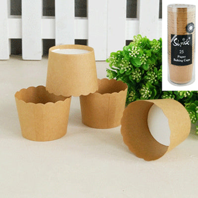 Cupcake Baking Cups - Brown Kraft (Pack of 25)