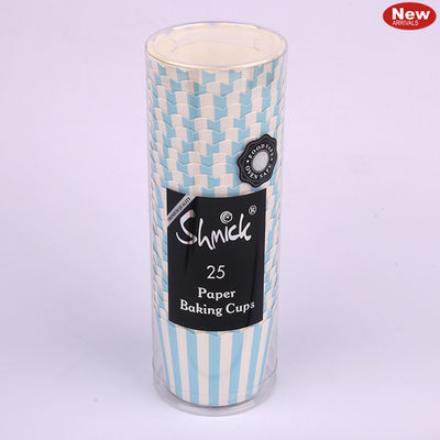 Cupcake Baking Cups - Blue Striped (Pack of 25)