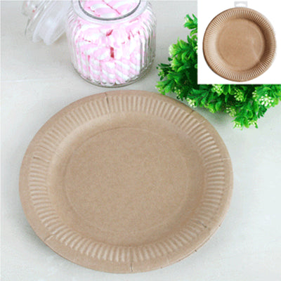 Paper Brown Plate 18cm - (Pack of 12)
