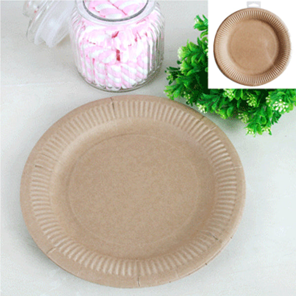Paper Brown Plate 23cm - (Pack of 12)