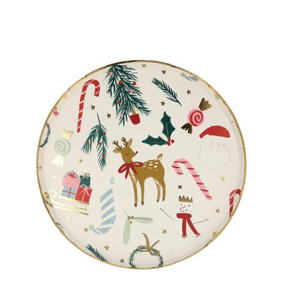 Christmas Festive Motif Paper Side Plates (Pack of 8)