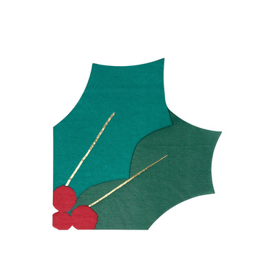 Christmas Festive Holly Leaf Napkins (Pack of 16)