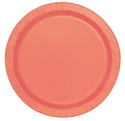 Coral Paper Plates - 23cm (Pack of 16)