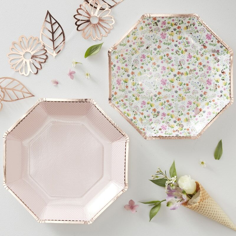 Rose Gold Foil Floral & Blush Paper Plates - 23cm (Pack of 8)