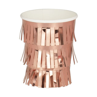 Rose Gold Fringed Paper Cups - 260ml (Pack of 8)