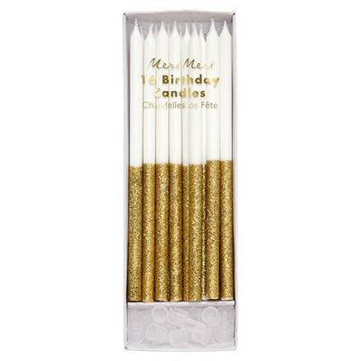 Cake Birthday Candles Glitter Gold Dip (Pack of 16)