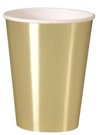 Gold Foil Paper Cups - 270ml (Pack of 8)