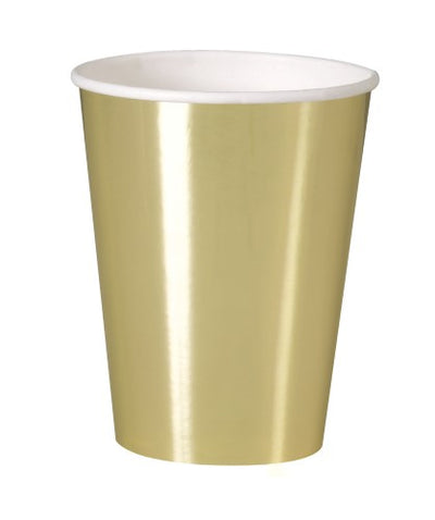 Gold Foil Paper Cups - 355ml (Pack of 8)